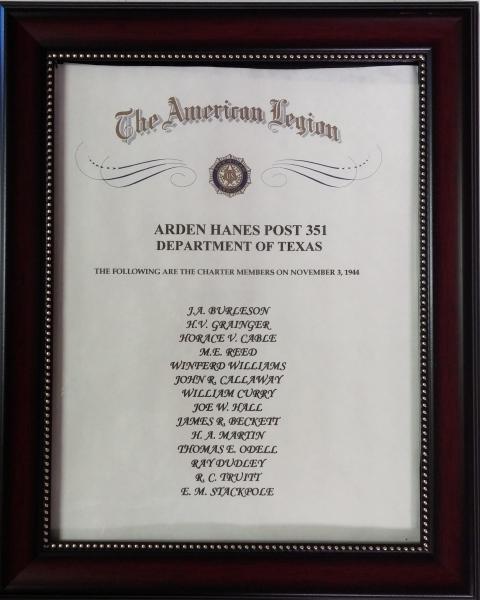 Arden Hanes Post 351 Charter Members