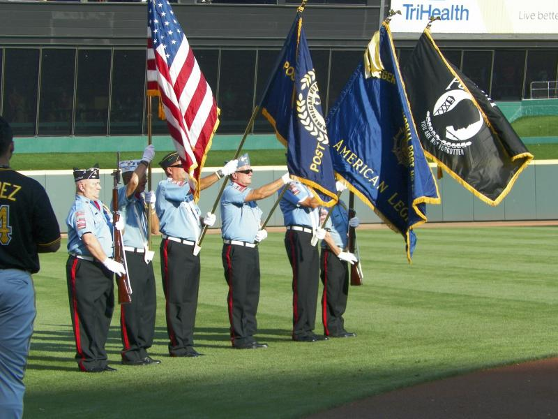 Presenting the colors at Cincinnati Reds Game