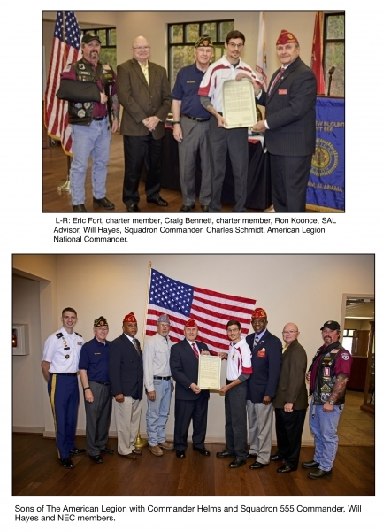Sons of The American Legion Matthew Blount Squadron 555 Presented with Unit Charter by National Commander.
