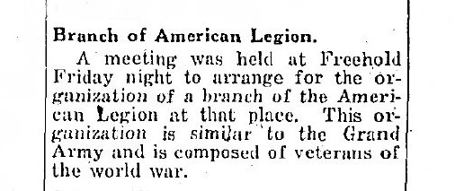 Meeting to Arrange for a Branch of the American Legion