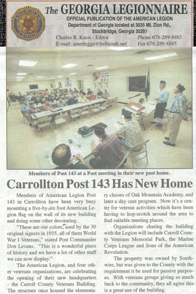 Carroll Post 143 Has New Home