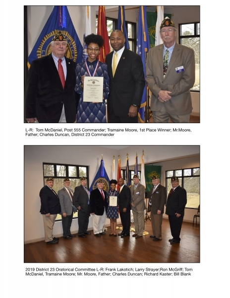 Post 555 Hosts District 23 Oratorical Scholarship Competition