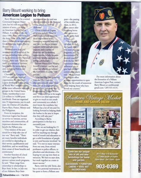 Pelham, Alabama  American Legion Post becomes a Vision