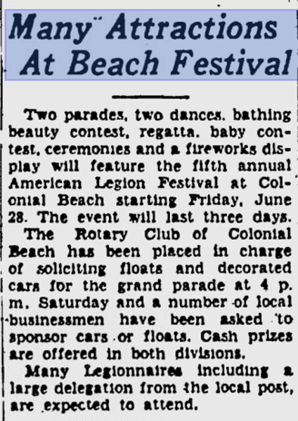 American Legion Festival 1940 Free Lance Star Article