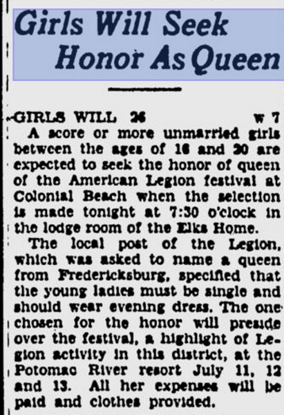 American Legion Festival 1941- Request for Entrants for Queen