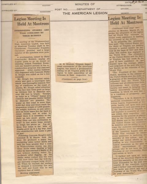 Newspaper Clippings of April 1933 Meeting