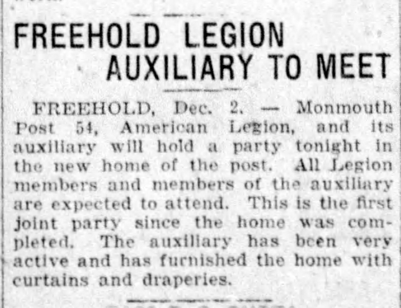 Freehold Legion Auxiliary to Meet