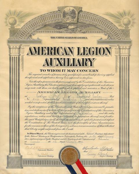 Leonard Conley Unit of the American Legion Auxiliary Chartered!