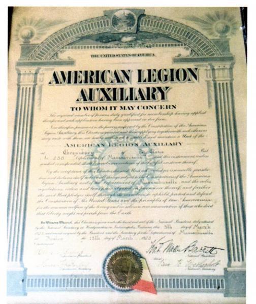 American Legion Post 238 Auxillary granted Charter