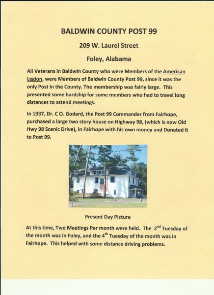 Post 99 Foley Alabama The American Legion Centennial Celebration