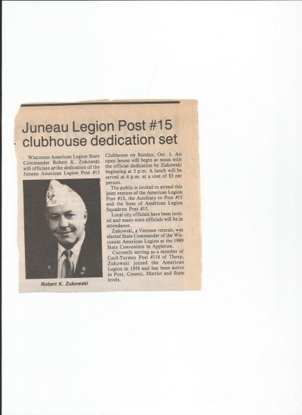 Juneau Legion Post 15 clubhouse dedication set