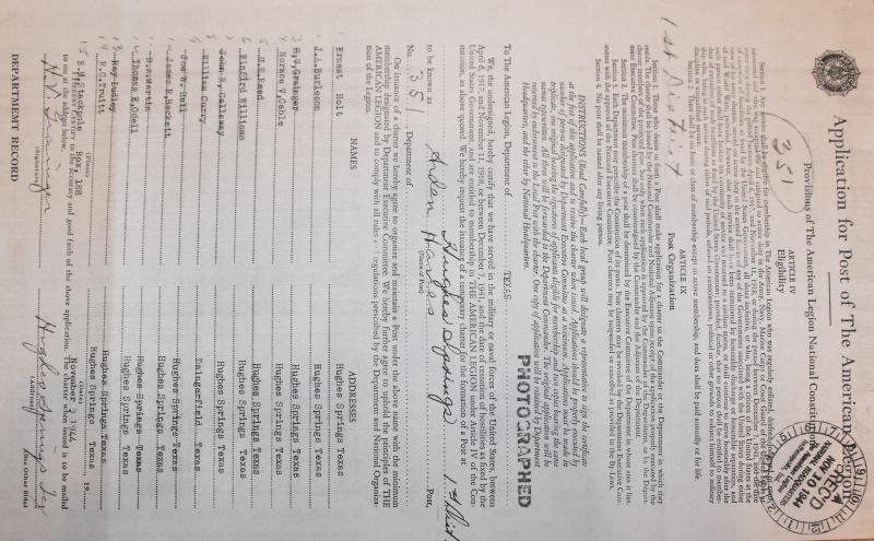 Application For Arden Hanes Post 351 Charter