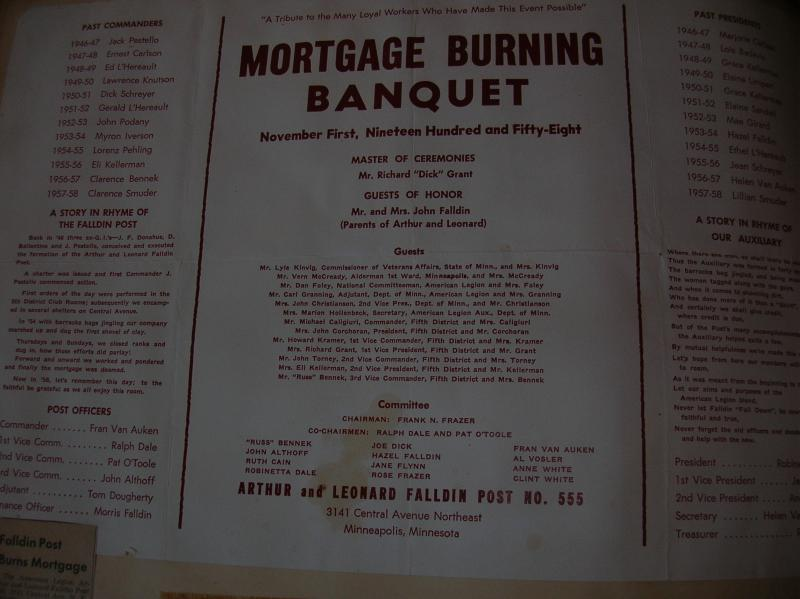 MORTGAGE BURNING BANQUET