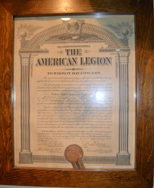 Local American Legion signs charter.