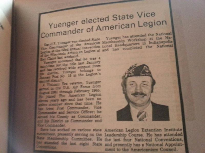 Yuenger elected State Vice Commander of American Legion