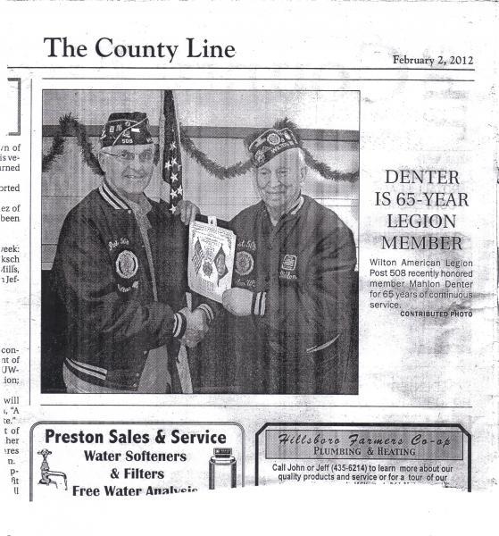 Denter is 65-Year Legion Member