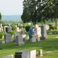 Placing flags at Oakland Cemetery, Indiana, PA May 25, 2011