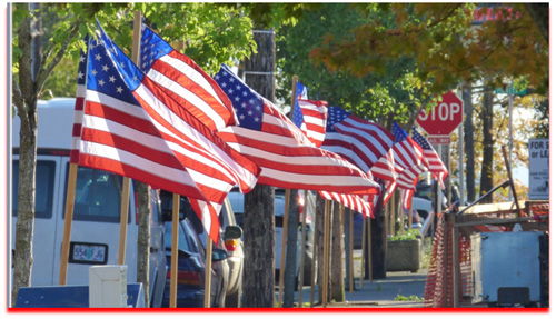 American Flags Line Streets of Ridgefield