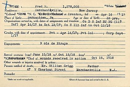 Fredrick W. Grigg Enlist
