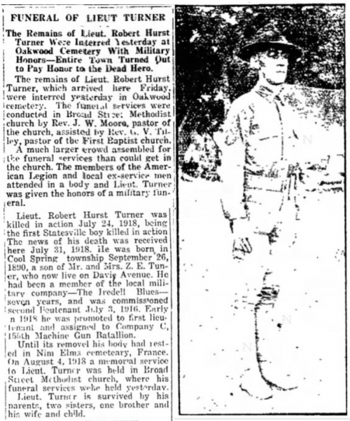 Lt Robert Hurst Turner is killed in action