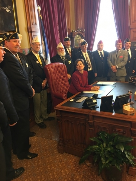 Governor Reynolds signed a proclamation that 11-22 March was proclaimed as the 100 Year Anniversary of The American Legion.