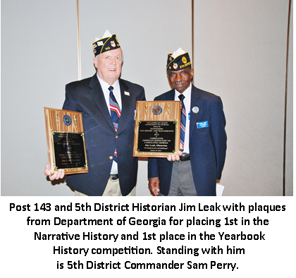 Post 143 Historian Wins Two 1st Place Awards in History Competition
