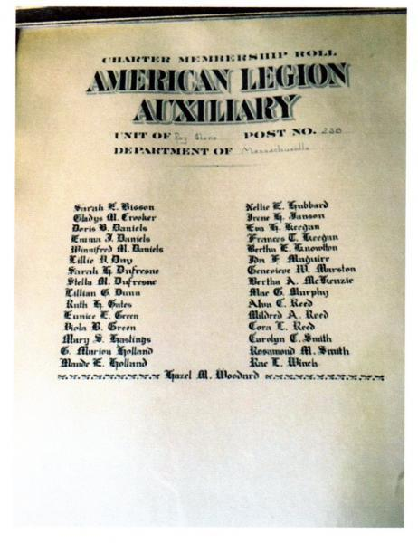 Original Petitioners for Charter of Auxillary Unit of Post 238
