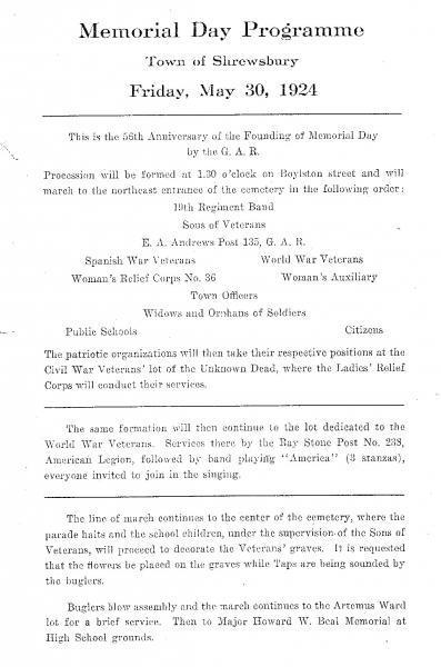 Memorial Day Programme