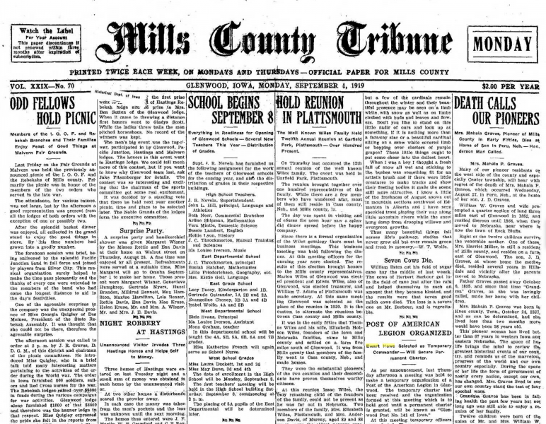 Mills County Tribune Reports Post Organized