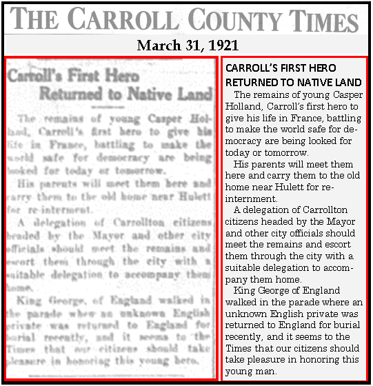 First Carroll County Casualty of World War I