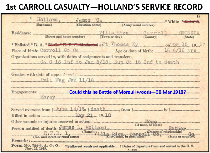 War Record of 1st WW1 Carroll County Casualty - May 21, 1918