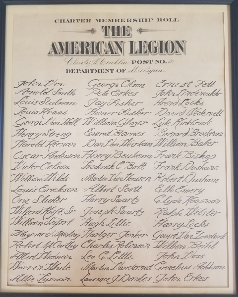 Charles A. Conklin American Legion Post 28 Charter Issued