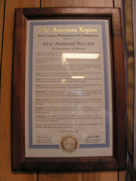 Post 464 Receives 21st Century Declaration of Commitment