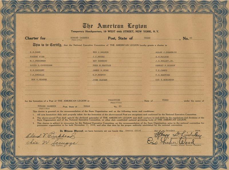 Howard Gardner Post 85 Granted Temporary Charter