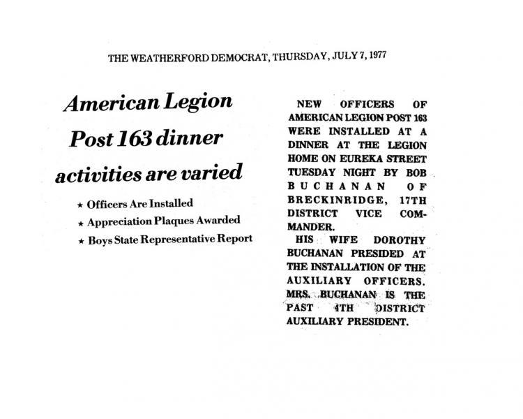 American Legion Post 163 Officer Installation