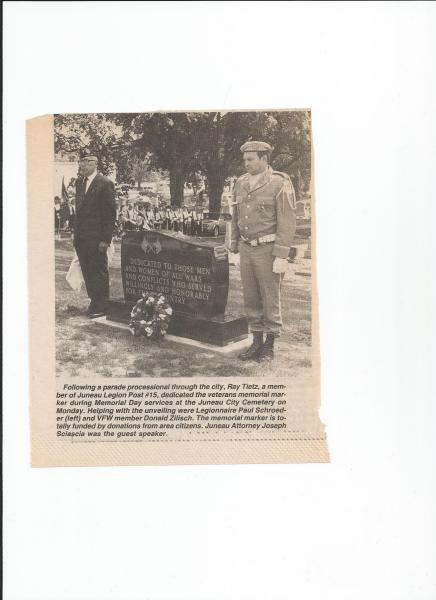 Veterans Memorial Marker dedication