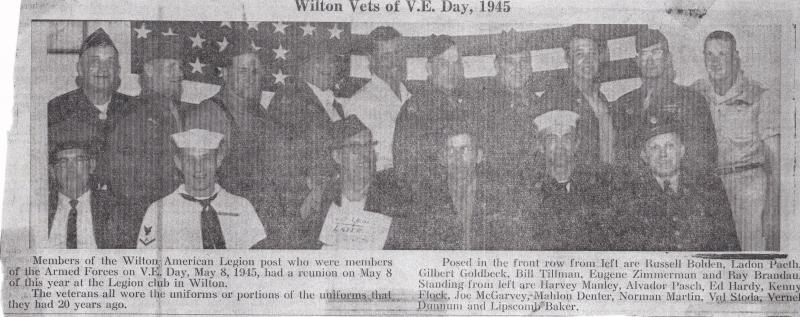 Wilton Vets of V.E. Day, 1945 - Reunion