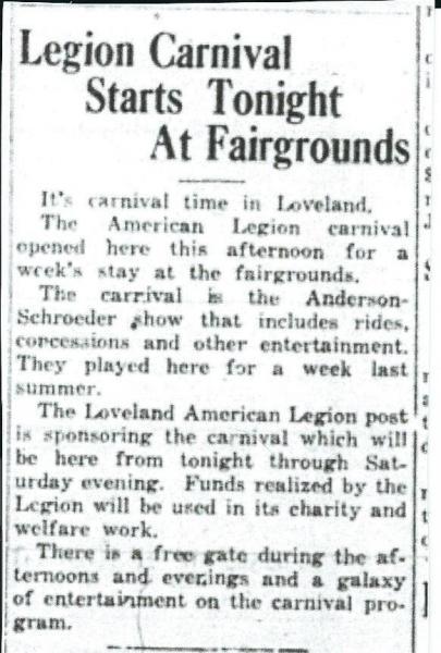 Legion Carnival Starts Tonight At Fairgrounds