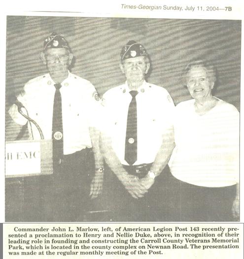 Duke Honored for Carroll County Veterans Memorial Park Inspiration