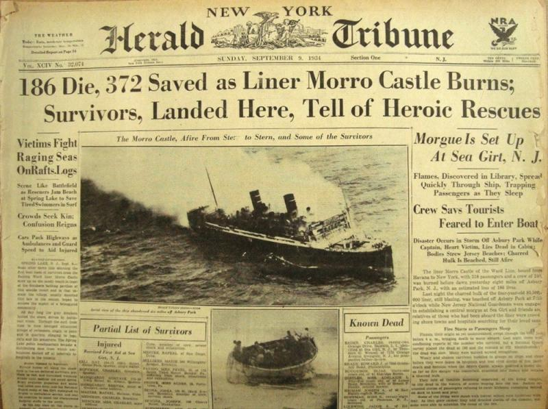 POST HELPS SAVE MORRO CASTLE PASSENGERS LIVES