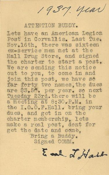 The beginning of Corvallis American Legion Post 91