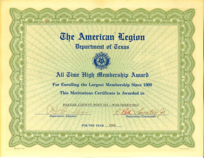 All Time High Membership Award