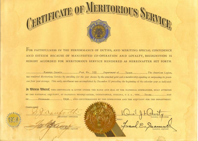 Certificate of Meritorious Service