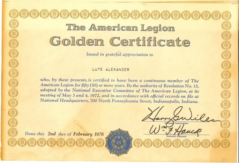 Golden Certificate - Lute Alexander
