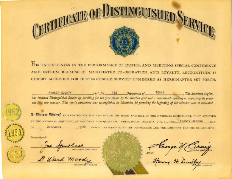 Certificate of Distinguished Service