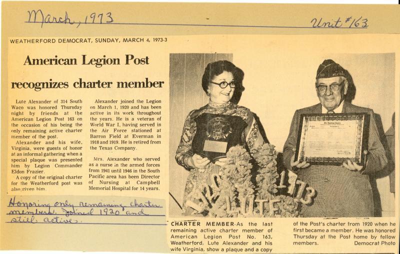 American Legion Post Recognizes Charter Member