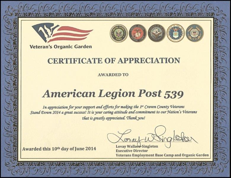 certificate of apreciation