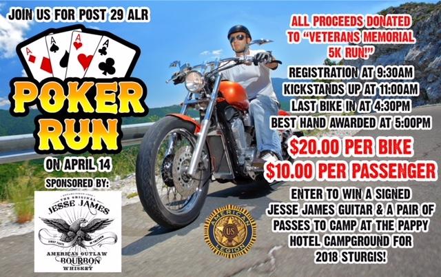 Post 29 ALR Poker Run - 04-14-2018