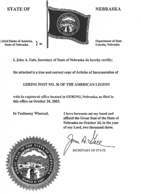 Articles of incorporation the american legion centennial celebration 2004 articles of incorporation post 36 thecheapjerseys Images