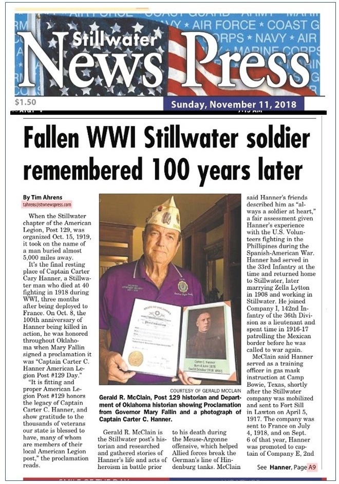 Fallen WWI Stillwater Soldier Remembered 100 Years Later